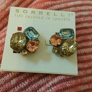 CLIP ON Sorrelli Blue,Pink, Pale Gold